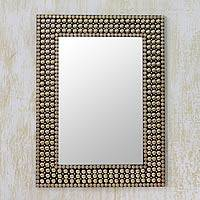 Brass wall mirror, 'Golden Staccato' - Hand-crafted Brass Stud Mosaic Wall Mirror from India