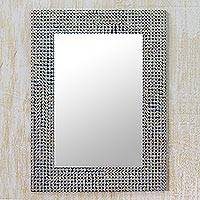 Mirror, 'Silver Staccato' - Metal Stud Mosaic Wall Mirror from India