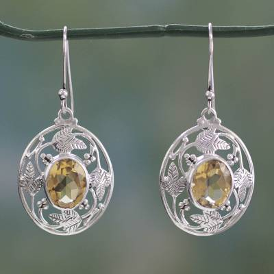 Citrine dangle earrings, 'Sunshine Avatar' - Indian Sterling Silver Dangle Earrings with Citrine