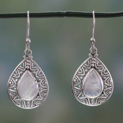 Rainbow moonstone dangle earrings, 'Timeless Ganges' - Rainbow Moonstone and Sterling Silver Dangle Earrings