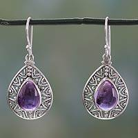 Amethyst dangle earrings, 'Timeless Ganges' - Amethyst on Sterling Silver Hook Earrings