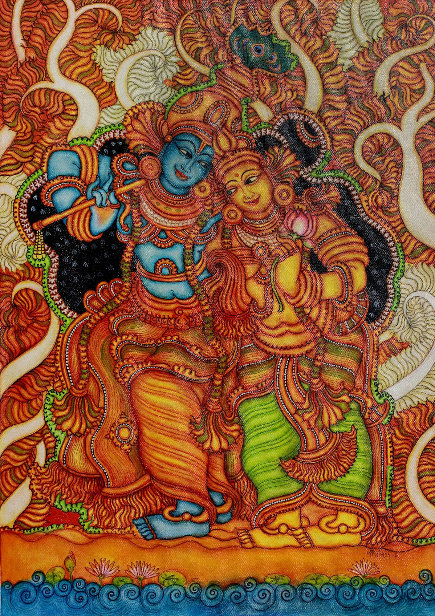 Pics for printable kerala mural painting designs for Mural art designs