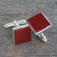 Carnelian cufflinks, 'Opportunity' - Indian Sterling Silver Cufflinks with Carnelian