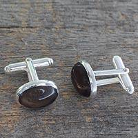 Smoky quartz cufflinks, 'To Dream' - Sterling Silver and Smoky Quartz Cufflinks