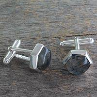 Labradorite cufflinks, 'Be a Star' - Labradorite and Sterling Silver Cufflinks from India