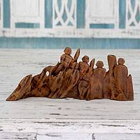 Reclaimed wood sculpture, 'Sweet Harmony' - Indian Artisan Crafted Original Found Wood Sculpture