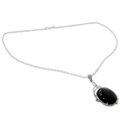 Onyx pendant necklace, 'Midnight Glow' - Handcrafted Rhodium Plated Silver Necklace with Onyx