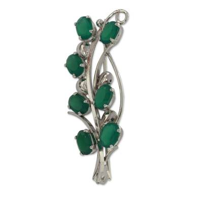 Onyx brooch pin, 'Forest Foliage' - Artisan Crafted Green Onyx and Silver Brooch Pin from India