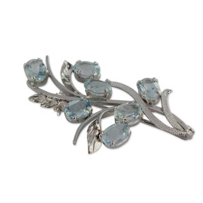 Blue topaz floral brooch pin, 'Blossoming Truth' - 7 Carats Blue Topaz Sterling Silver Brooch Pin from India