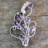 Amethyst floral brooch pin, 'Lilac Story' - 7 Carats Amethyst Sterling Silver Indian Brooch Pin