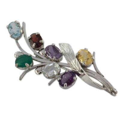 Fair Trade Multi Gemstone and Sterling Silver Brooch Pin