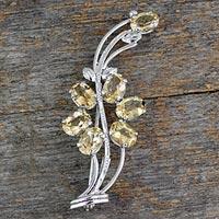 Citrine floral brooch pin,