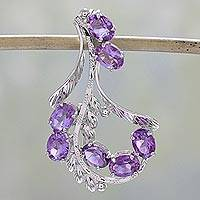 Amethyst floral brooch pin, 'Lavish Lilies' - Indian Sterling Silver Brooch Pin With 7 Amethysts