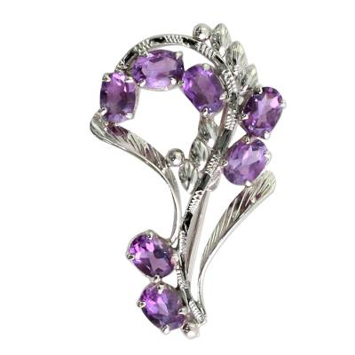 Indian Sterling Silver Brooch Pin With 7 Amethysts