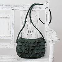 Leather shoulder bag, 'Green Frills' - Handcrafted Fair Trade Ruffled Green Leather Handbag