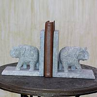 Soapstone bookends, 'Elephant Knowledge' (pair) - Hand Crafted Soapstone Elephant Bookend Pair