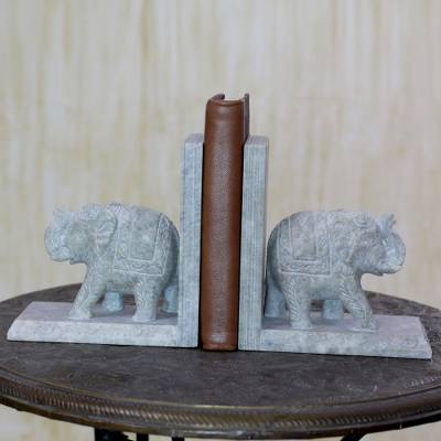 Hand Crafted Soapstone Elephant Bookend Pair, 'Elephant Knowledge'