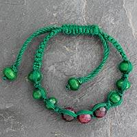 Agate Shambhala-style bracelet, 'Green Candy Chic' - Fair Trade Shambhala-style Bracelet with Red and Green Agate