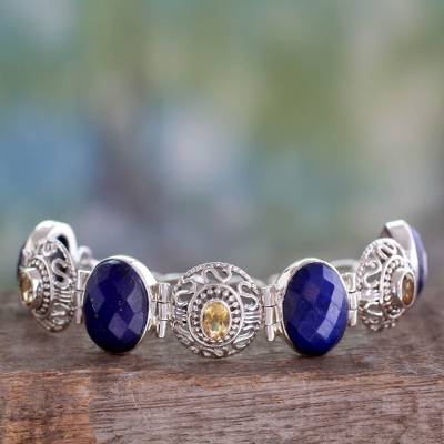 Lapis and citrine link bracelet, 'Royal Lace' - Indian Lapis Lazuli and Citrine Silver Jali Bracelet