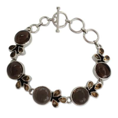 Sterling Silver Link Bracelet with Smoky Quartz and Citrine