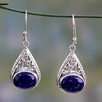 Lapis lazuli dangle earrings, 'Royal Grandeur' - Fair Trade Lapis Lazuli and Sterling Silver Earrings