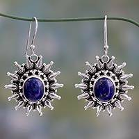 Lapis lazuli dangle earrings, 'Royal Allure' - Fair Trade Lapis Lazuli and Sterling Dangle Earrings