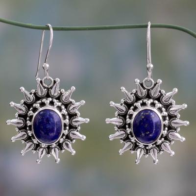 Lapis lazuli dangle earrings, 'Royal Allure' - Fair Trade Lapis Lazuli and Sterling Dangle Earrings