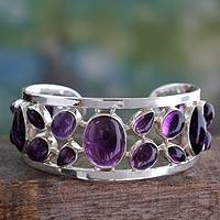 Amethyst cuff bracelet, 'Purple Harmony' - Amethyst Studded Sterling Silver Cuff Bracelet from India