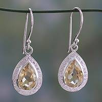 Citrine dangle earrings, 'Golden Dewdrop' - Fair Trade Sterling Silver and 6 ct Citrine Dangle Earrings
