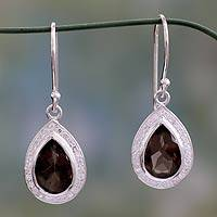 Smoky quartz dangle earrings, 'Dusky Dewdrop' - Artisan Crafted Smoky Quartz Dangle Earrings from India