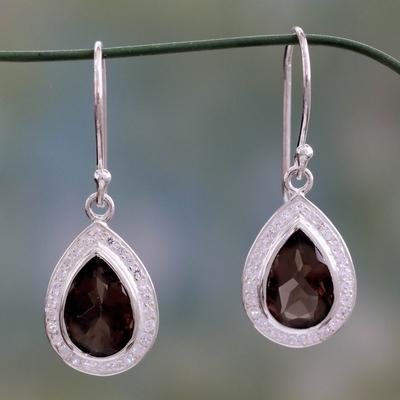 Smoky quartz dangle earrings, 'Dusky Dewdrop' - Artisan Crafted Smoky Quartz Dangle Earrings from India