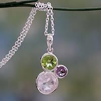 Rose quartz, peridot and amethyst pendant necklace, 'Enchanting Trio'