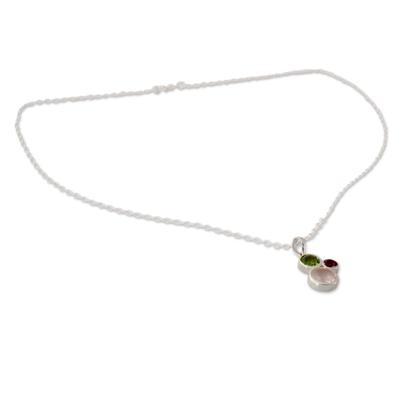 Rose Quartz Amethyst and Peridot Pendant Necklace