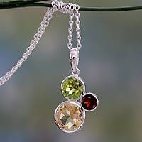 Citrine, peridot, and garnet pendant necklace, 'Alluring Trio' - Sterling Silver Peridot, Citrine, Garnet Pendant Necklace