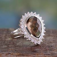 Smoky quartz cocktail ring, 'Mughal Empress' - Hand Crafted Smoky Quartz Cocktail Ring from India