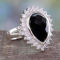 Onyx cocktail ring, 'Queen of Midnight' - Faceted Onyx and Sterling Silver Cocktail Ring for Women