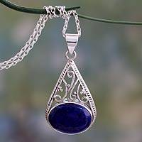 Lapis lazuli pendant necklace, 'Royal Grandeur' - Indian Jali Style Silver Pendant Necklace with Lapis Lazuli