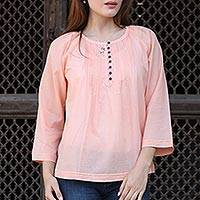Cotton tunic, 'Mandala Peach' - Boho Chic Tunic Top Handcrafted Indian Cotton Peach Color