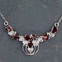 Garnet pendant necklace, 'Crimson Flourish' - Ornate Garnet and Sterling Silver Pendant Necklace