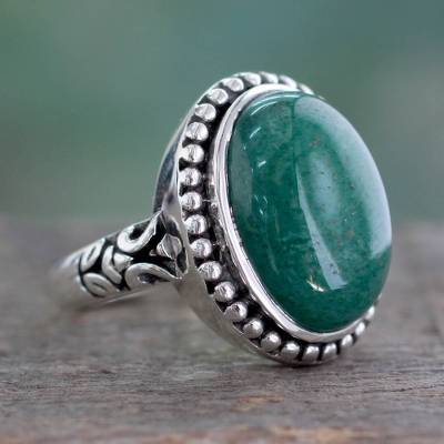 Jade cocktail ring, 'Jade Forest' - Women's Green Jade and Silver Cocktail Ring from India