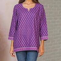 Cotton tunic, 'Radiant Orchid Blossom' - Women's Purple and Lilac Floral Print Tunic from India