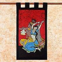 Cotton batik wall hanging, 'Radha and Krishna' - Indian Radha and Krishna Cotton Batik Wall Hanging