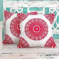 Cotton cushion covers, 'Hot Pink Mandalas' (pair) - Indian Pink Square Cotton Cushion Covers (Pair)