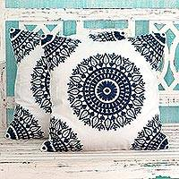 Cotton cushion covers, 'Sapphire Blue Mandalas' (pair) - Indian Embroidered Dark Blue on White Cushion Covers (Pair)