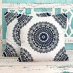 Indian Embroidered Dark Blue on White Cushion Covers (Pair), 'Sapphire Blue Mandalas'