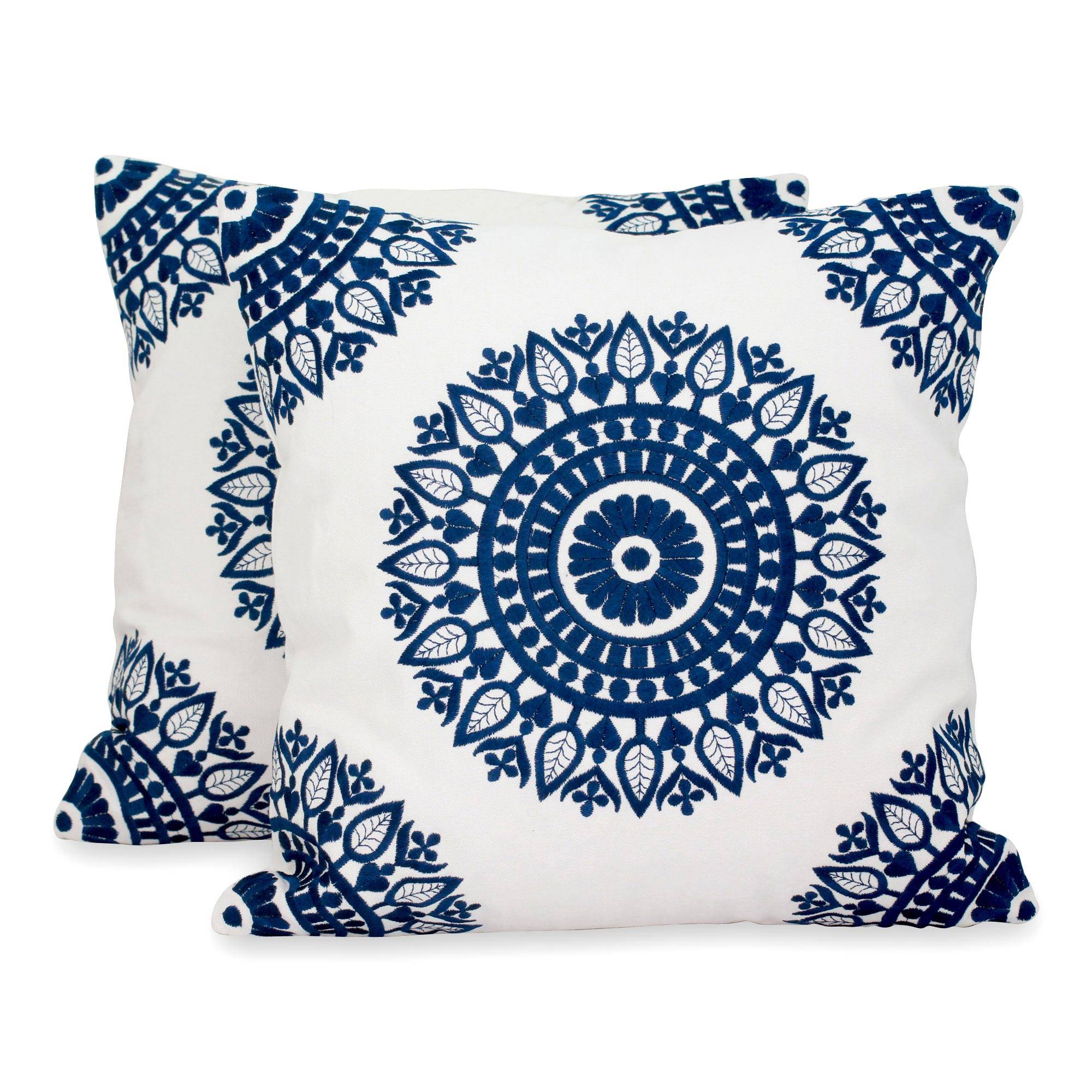 Unicef Uk Market Indian Embroidered Dark Blue On White Cushion Covers Pair Sapphire Blue Mandalas