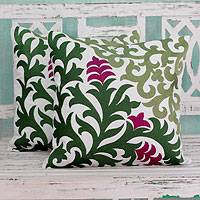 Cotton cushion covers, 'Magenta Blooms' (pair) - Floral Embroidered Cotton Cushion Covers From India (Pair)