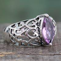 Amethyst cocktail ring, 'Love Sonnet' - Marquise Amethyst Single Stone Silver Ring from India