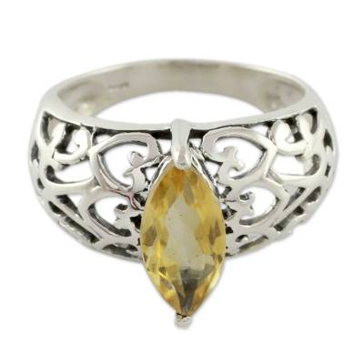 Citrine cocktail ring, 'Love Sonnet' - Marquise Citrine Single Stone Silver Ring from India