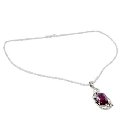 Sterling silver pendant necklace, 'Splendor' - Purple Composite Turquoise Silver Necklace from India